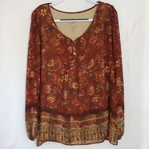 Miracle Body by Miracle Suit XL Brown Print Blouse